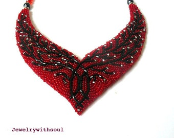 Bead embroidered cherry blossom bib necklace in bright red, black and silver, gift for her, holiday gift idea, bead embroidery jewelry