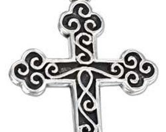 Sterling Silver Roman Cross Pendant on satin black cord