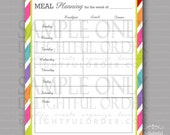 Colorful - Weekly Meal Planning Form -  PDF Printable File - Instant Digital Download