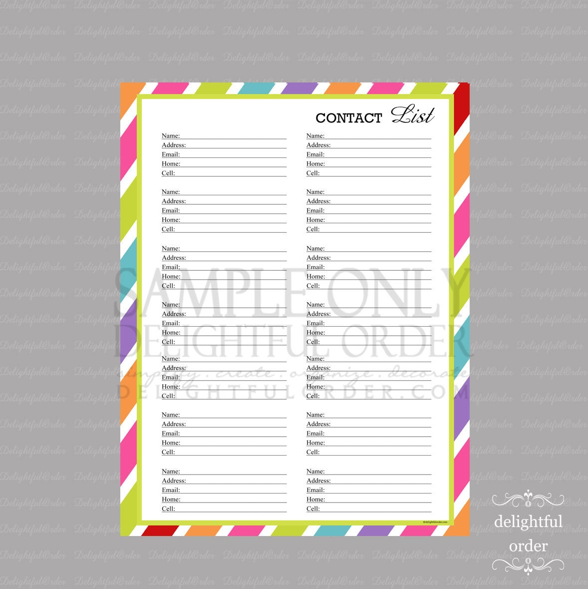 Printable Contact List 8 free printable address book – Contact Book Template