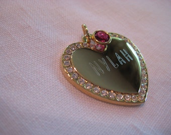 Pet ID Tag- Heart with Crystals and Drop Channel ( gold or silver finish)