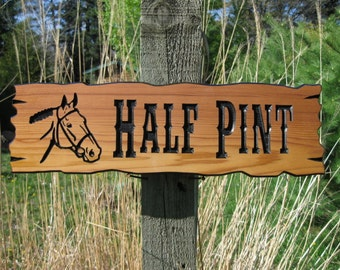 "Horse Stall Signs - Custom Stable Signs - Personalized Wooden Signs - Routed Wooden Signs - Rustic Sign - 20"" x 5 1/2"""