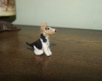 Felted dog, dog miniature, needle felted dog