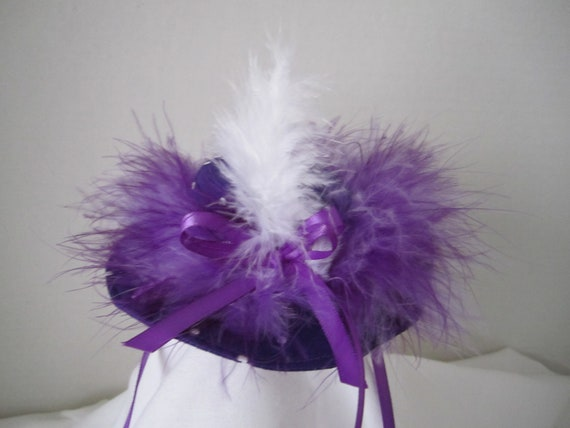 """Fancy Purple with polkadots With Marabou Feathers By Nina's Couture Closet """"Exclusive Line Bella """""""