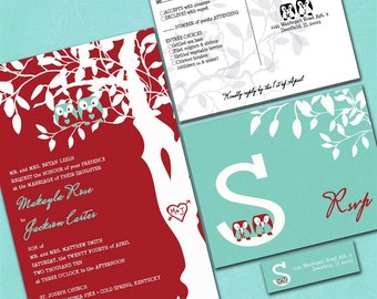 Custom Owl Wedding Invitations -  Red and Aqua Blue -  Sample Packet