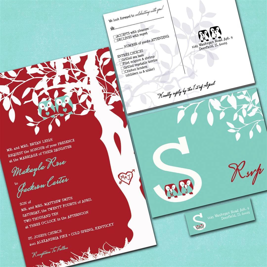 Custom owl wedding invitations red and aqua blue sample for Etsy owl wedding invitations