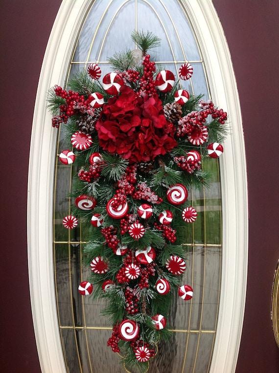 "Christmas Wreath Winter Wreath Vertical Teardrop Door Swag Decor..""Peppermint Candy"""