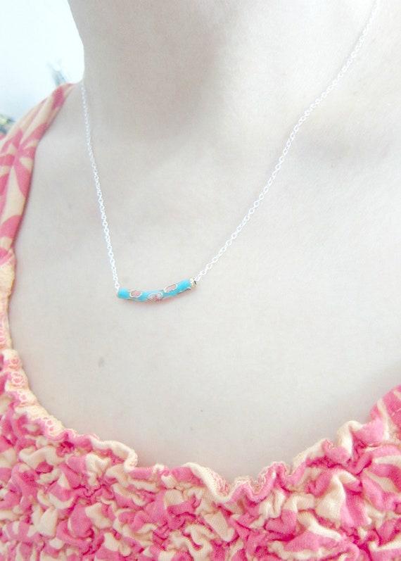 Little Blue Procelain Swing Silver Plated Necklace