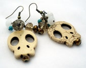 Skull Dangle Earrings in Ivory and Turquoise