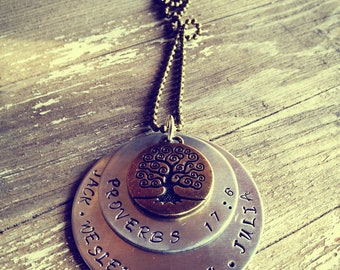 Proverbs 17:6 Hand Stamped Aluminum and Brass GrandMother's Necklace