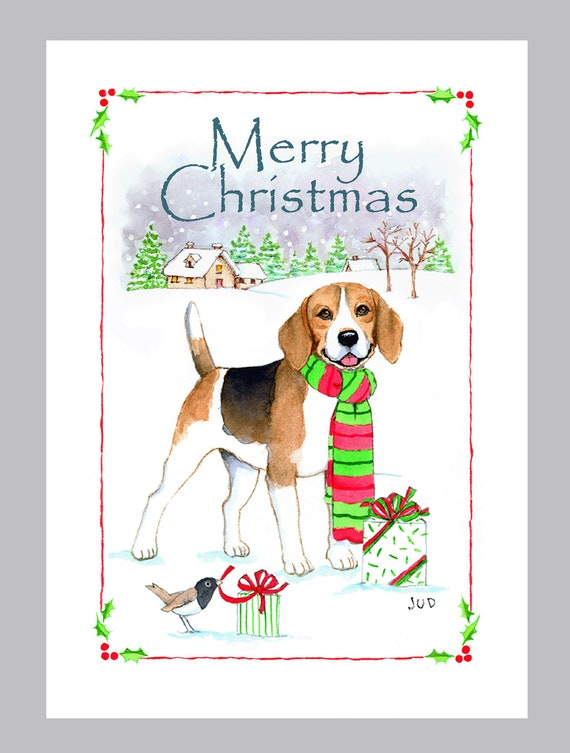 Beagle christmas cards box of 16 cards and envelopes by judzart