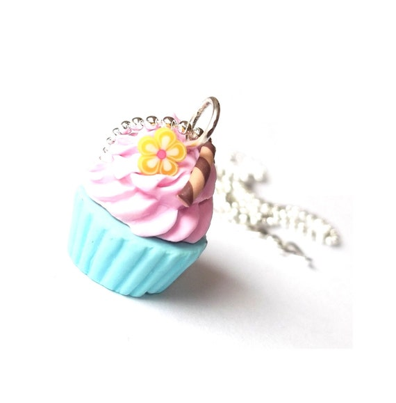 Pink Blue Cupcake Necklace Polymer Clay  Flower and Cinnamon Silver Necklace, Miniature Food, Cute Jewelry