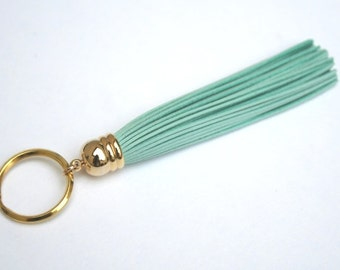 Turquoise Leather Tassel Keychain. Light Turquoise. Tiffany. Bridesmaid. Key Chain.Gold Tassel. Purse Bag Charm. Long Tassel. Key Chain.Gift