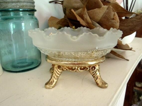 Hollywood Regency Soap Dish Antique Glass Metal Footed Bathroom Decor
