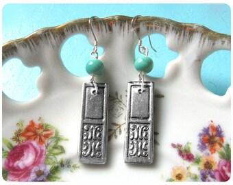 Renee Spoon Earrings, Upcycled, Repurposed, Spoon Jewelry with blue-green bead