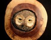 Owl Art In Wood Walnut Round-Original Hand Carved Sculpture Wall Art