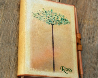 Large Free initials Spring Tree with two birds leather journal