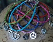 SUMMER OF LOVE Bohemian Hippie Peace Leather Bracelet 3.50 with Free Shipping.