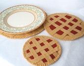 Felt Trivet Set Cherry Pie, Hostess Gift, Party Decor, Cherry Tart, Set of Three Table Protectors