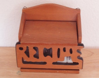 Vintage  Wood Wall Mount Recipes Box.