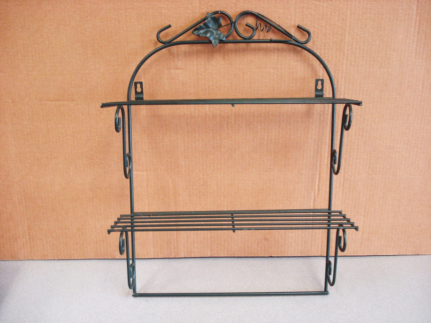 metal wire wall mount double shelf by npebaysale on etsy. Black Bedroom Furniture Sets. Home Design Ideas