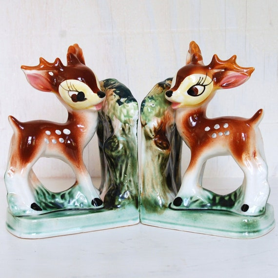 Vintage Sweet and Quirky Bambi Bookends