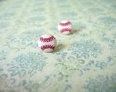 Small Baseball Button Earrings Button Earrings Baseball Jewelry Sport Earrings