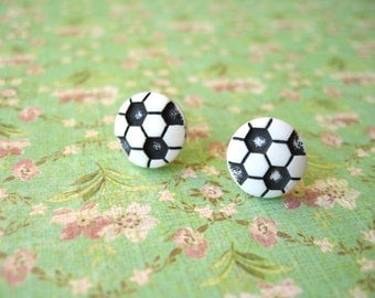 Small Soccer Earrings, Soccer Ball Earrings, Black and White, Resin Earrings, Sport Earrings -12mm