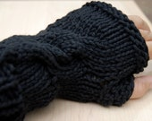 Black Knit Fingerless Gloves, Cable Knit, Cotton