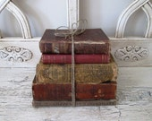 Vintage Rustic Book Stack from 1880s - Tattered - Twine Bound
