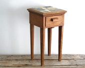 RESERVE Vintage Monterey Styled Side Table with Tile Mosaic Top, Night Stand, Bedside Table, Boho