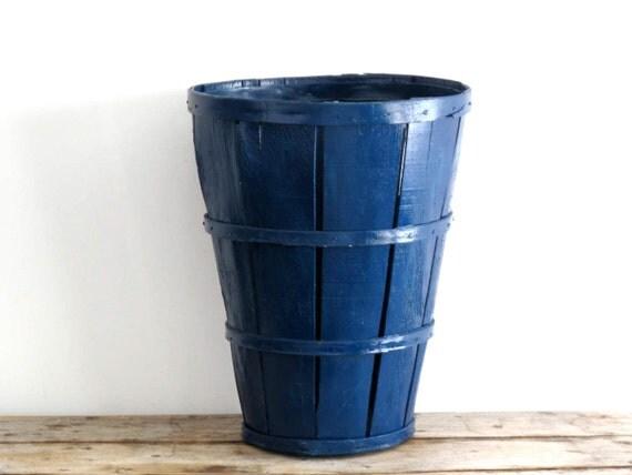 RESERVED - Tall Blue Wood Basket - Orchard Bushel, Fruit Basket, Rustic Wedding