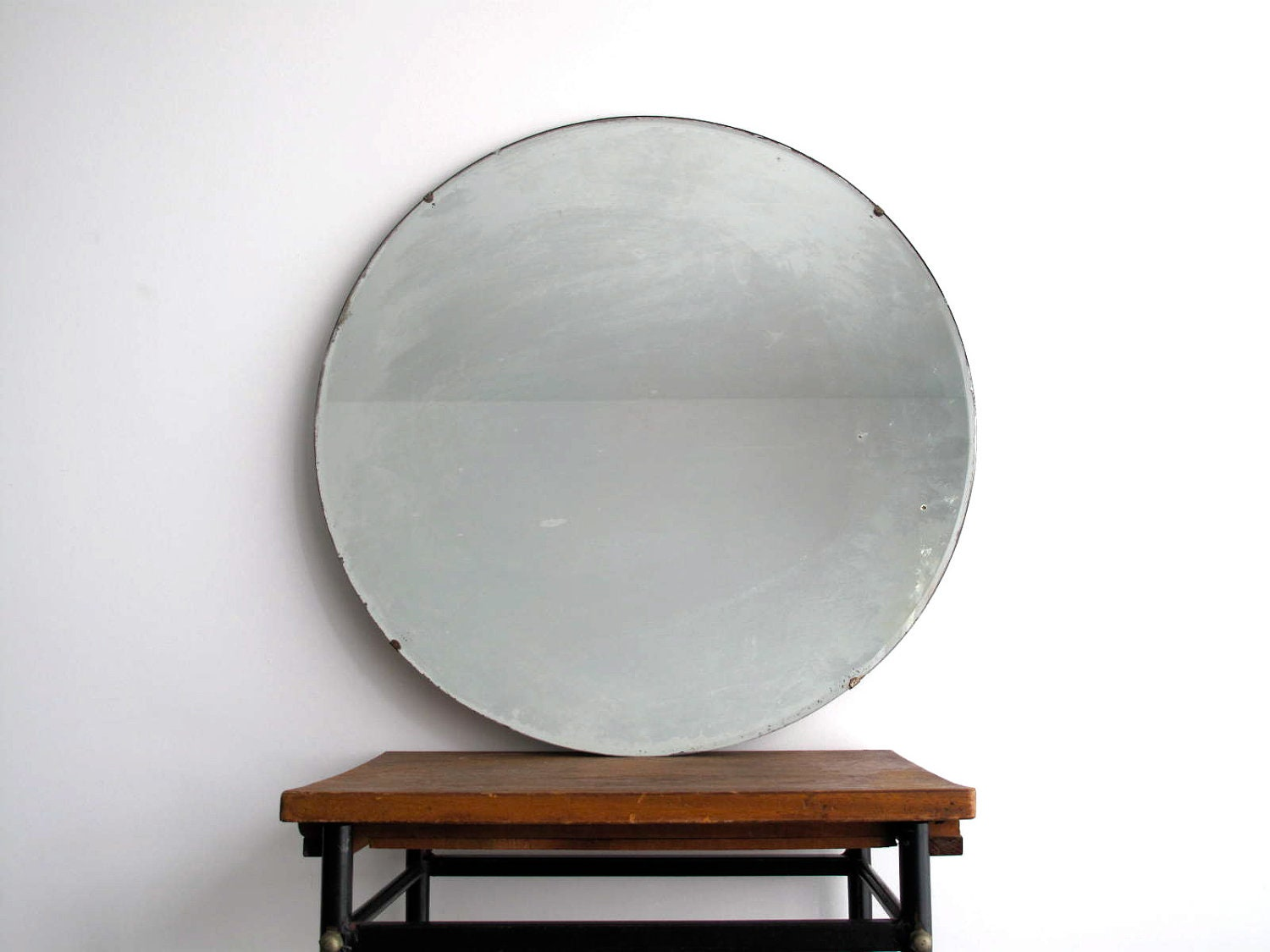 Vintage wall mirror round beveled frameless by snapshotvintage for Frameless beveled mirror