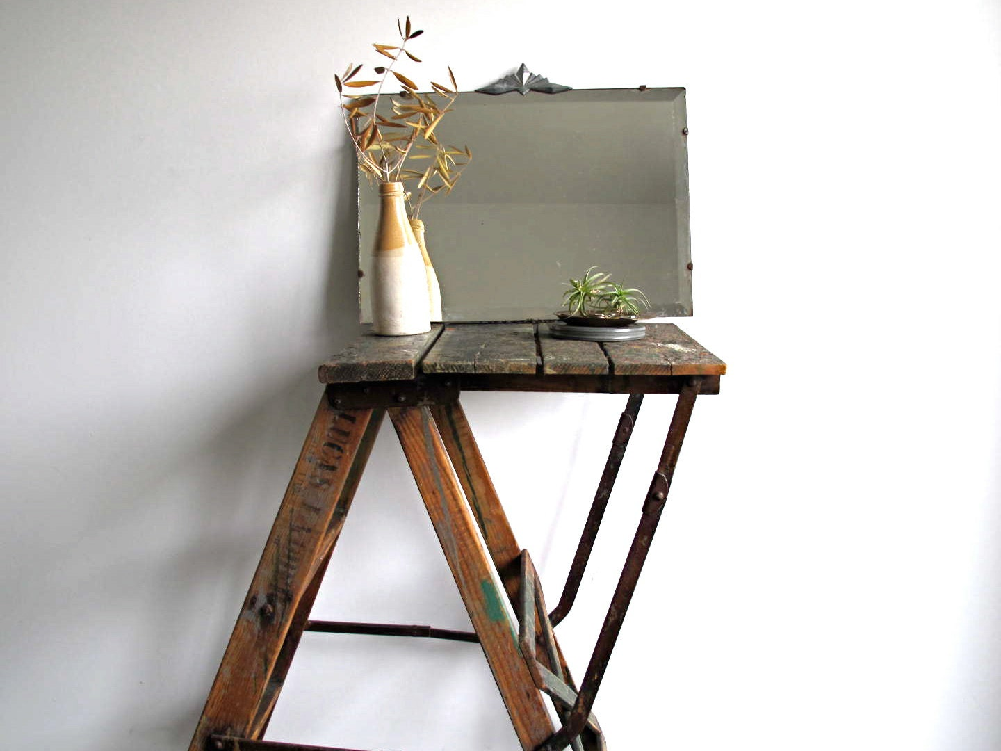 Vintage Tall Step Ladder Side Table Industrial By
