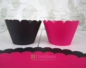 Hot Pink and Black cupcake wrappers - set of 12