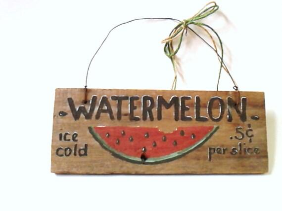 Watermelon Wood Hanging Garden Sign Rustic  Vintage