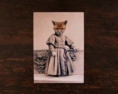 Red Fox Art Print, 5 x 7 Victorian Altered Animal Art, Jackson, Zoomorphic Art, Woodland Animal Collage Art, Altered Antique Photography