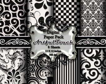 "Black & White Damask (2), Digital Paper - 8  Digital Scrapbook Paper Pack (12"" X 12"" - 300 DPI) Digital Background Paper - INSTANT DOWNLOAD"
