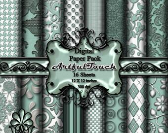 Aqua Damask Digital Paper: Digital Download 16 Digital Scrapbook Paper Digital Background Digital Graphics 12 X 12 300 dpi  INSTANT DOWNLOAD