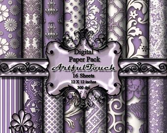 """Scrapbook Paper Pack - 16 Digital Paper (12"""" X 12"""" - 300 DPI) - Light Purple Damask - Digital Background - INSTANT DOWNLOAD"""