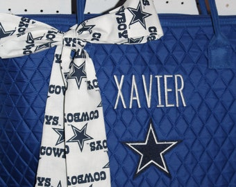 Dallas Cowboys Quilted Large Tote Bag Custom Embroidery