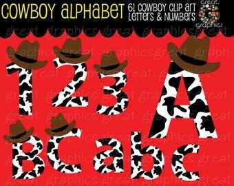 Cowboy Clip Art Alphabet Clipart Digital Clip Art Alphabet Printable Cowboy Alphabet - Instant Download