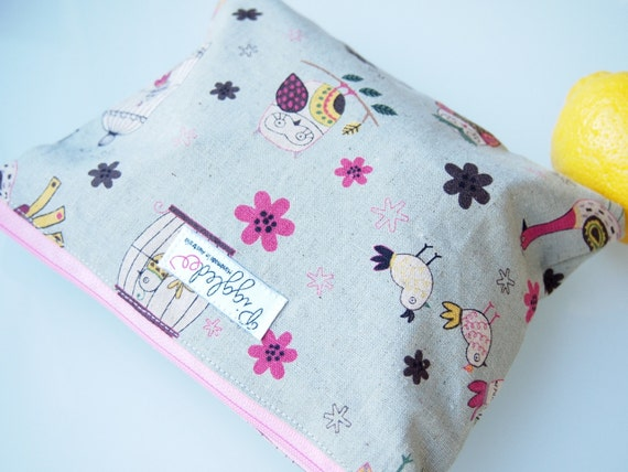 Small Zippered Wet Bag Pouch with Waterproof Lining - Birds (Green Grey)