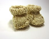 SALE - Knit Baby Booties - Recycled Cotton - Oatmeal and Cream