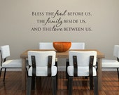 Bless this food before us, family beside us and love between us vinyl wall  decal