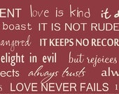 Custom listing for Ina Love is patient love is kind 1 Corinthians 13  painted wood sign