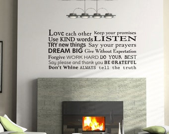 Family Rules House Rules wall  decal