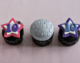 Fondant Disco and Star Age Fondant Cupcake Toppers for Disco and Dance Party Treats