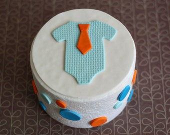 Fondant Baby Onesie with Tie and Polka Dot Cake Decorations for Decorating a Baby Shower Cake or Smash Cake