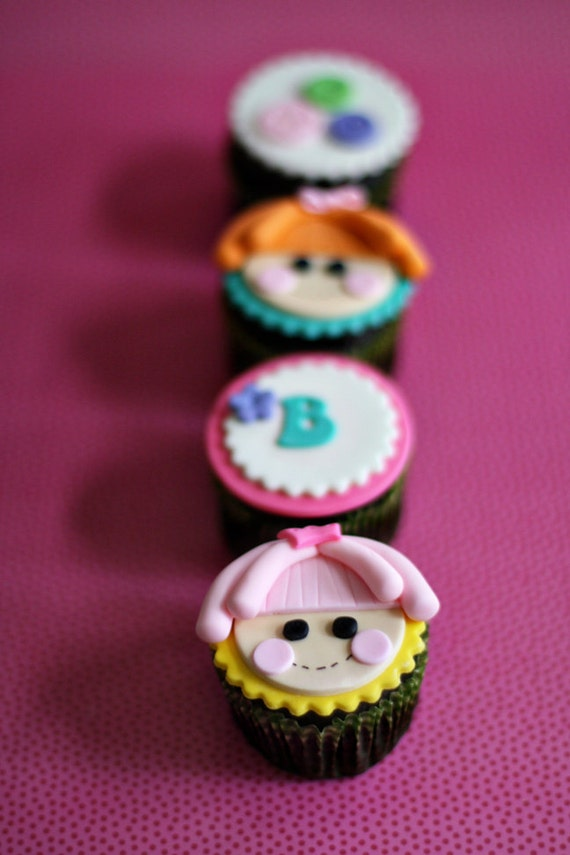 Fondant Doll, Button and Initial Toppers for Decorating Cupcakes, Cookies, or other Sweet Treats